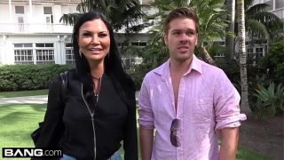 Jasmine Jae is a hot mature with big tits and a pierced clit The trio go to the beach where Jasmine exposes her pussy for the public to see