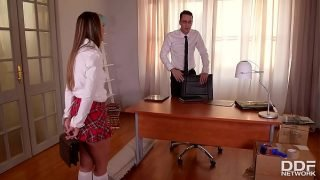 Watch schoolgirl Blue Angel being spanked, fucked and dominated by teacher